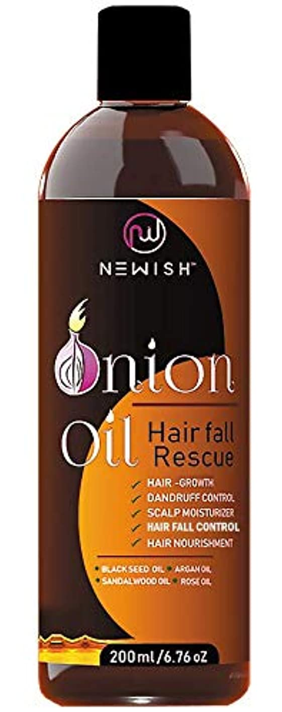 スラッシュ符号かろうじてNewish Red Onion Oil for Hair Regrowth Men and Women, 200ml