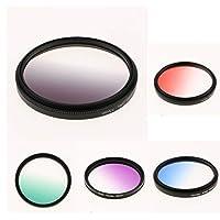 FLAMEER 5枚 グラデーションカラーフィルター(55mm) 青/灰/緑/紫/赤 デジタル一眼レフカメラ用
