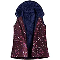 Howely Women Colorful Printed Fleece Linen Pocketed Comfy Winter Down Waistcoat