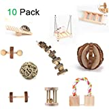 MQFORU Hamster Chew Toys, 10 Pack Natural Wooden Pine Guinea Pigs Rats Chinchillas Toys Accessories Dumbells Exercise Bell Roller Teeth Care Molar Toy for Birds Bunny Rabbits Gerbils