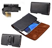 DFV mobile - Case Belt Clip Genuine Leather Horizontal Premium for => LENOVO A680 > Black