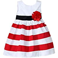 Baby Girl Princess Sleeveless Flower Dress Skirt Stripes Sun Dress
