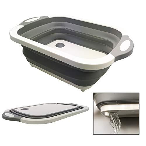 【2019年最新版】 洗い桶 折りたたみ まな板 Kiranic キッチン バケツ 排水プラグが付く コンパクト シリコン製 取っ手付き 収納便利 アウトドア 多用途