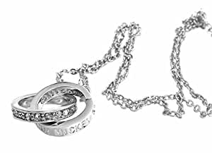 Disney ディズニー ミッキー 生誕80周年記念 18金 ホワイトゴールド仕上げ ダブルリング ネックレス シルバー×シルバー スワロフスキー【並行輸入品】