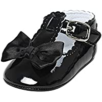 Meckior Infant Baby Girls Soft Sole Prewalker Crib PU Leather Mary Jane Shoes Princess Light Shoes 0-18 Months