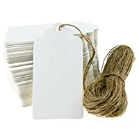PIXNOR 100pcs 90 45mm Scalloped Blank Kraft Paper Card Label with 20M Rope (White)