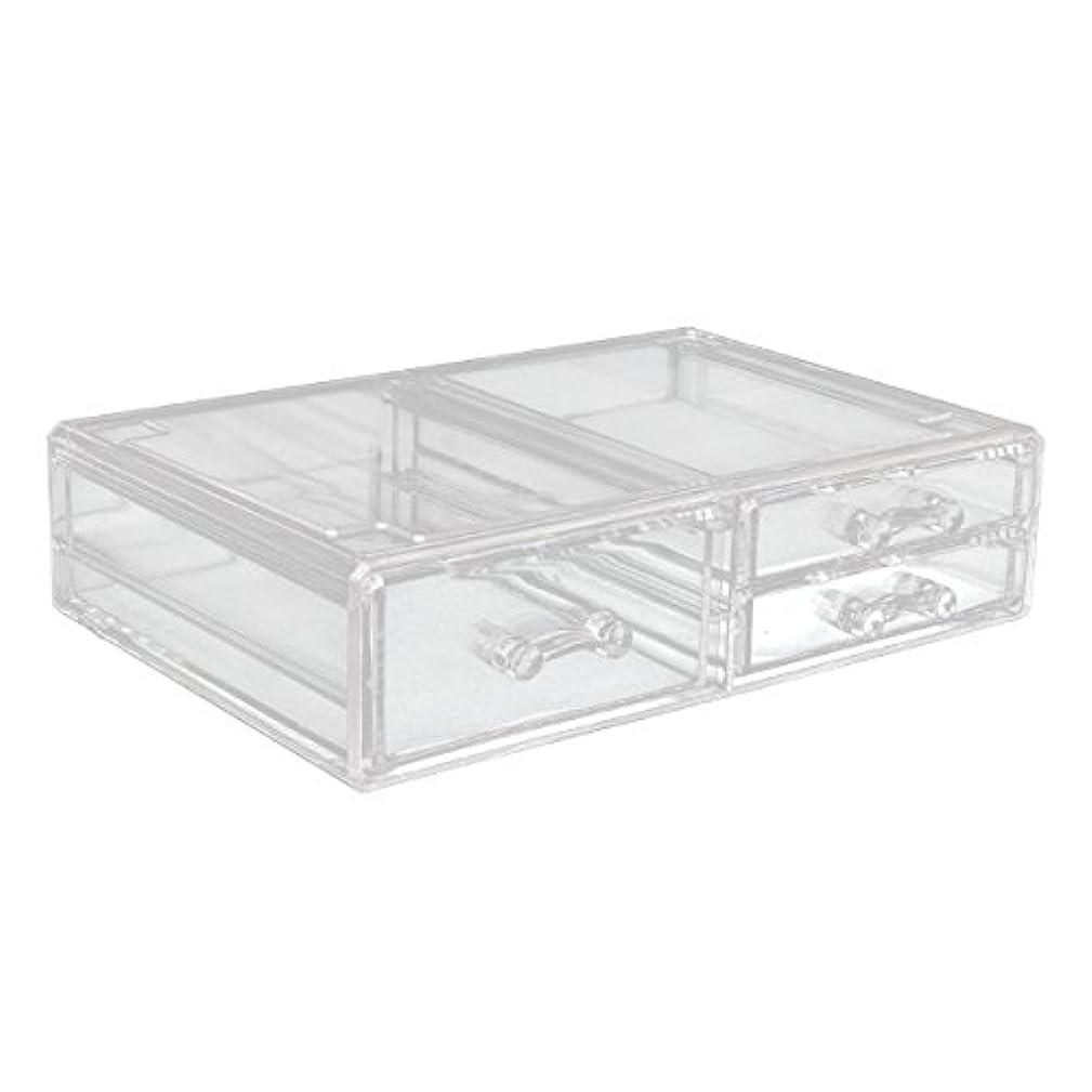 釈義ミニチュア白いアクリルケース 収納ケース 深型引き出し×1 小引き出し×2 Lサイズ コスメボックス ディスプレイ_87260