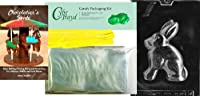 "Cybrtrayd"" Rabbit For Specialtyボックスの""イースターチョコレート型Chocolatierのバンドル、Includes 50チェロバッグ、50イエローツイスト紐とガイド"