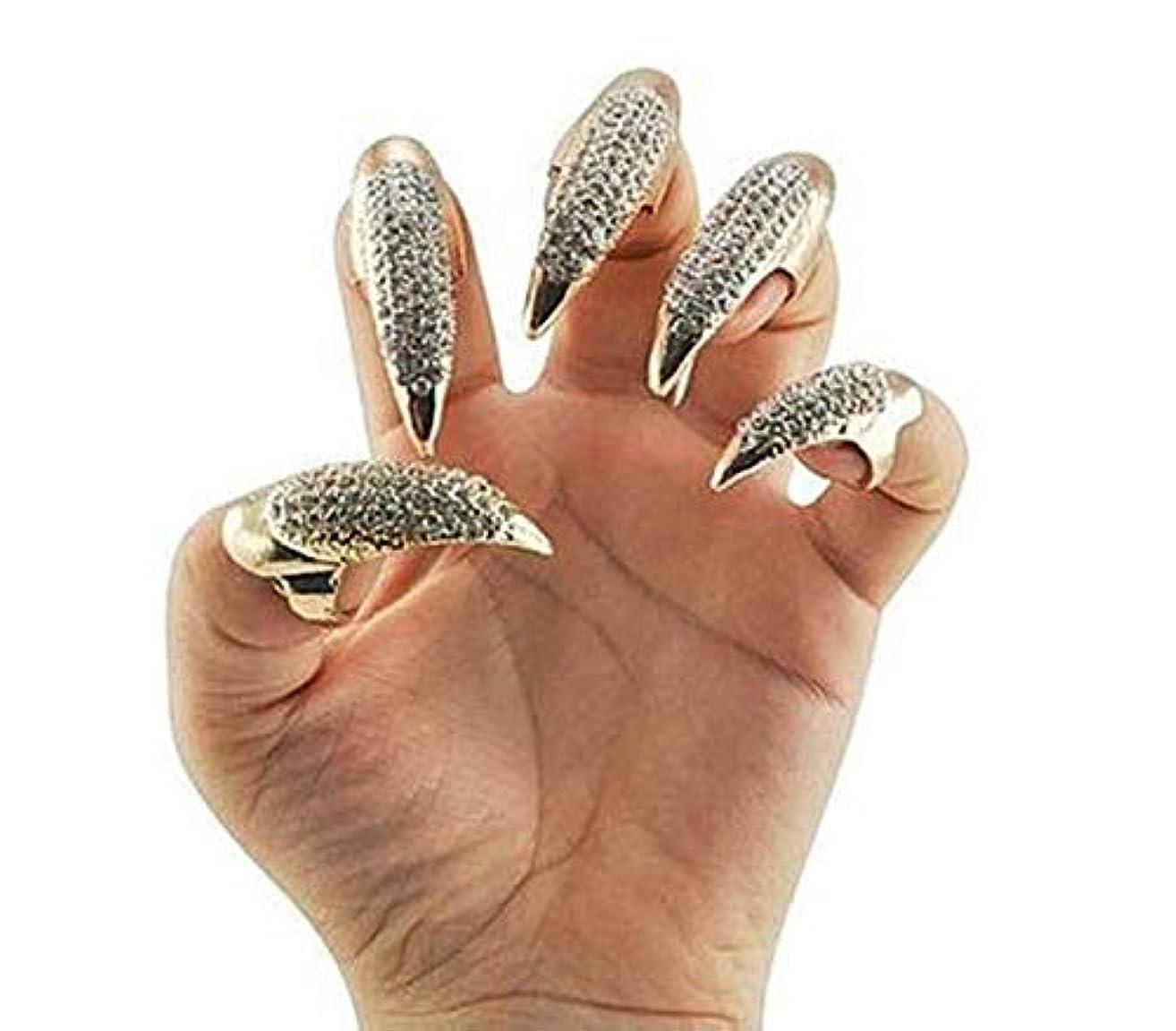 賞賛冷淡な不名誉(Silver) - 10 PCS Bestga Gothic Punk Style 3 Sizes Crystal Rhinestone Paved Paw Bend Fingertip Finger Claw Ring Fake False Nails Set Coseplay Decorations - Silver