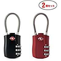 FOXAS 南京錠 2個セット TSAロック ダイヤル式南京錠 ワイヤーロック 鍵  小型 3桁 海外旅行用  スースケースロック ブラック&レッド