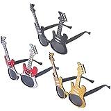 Amosfun 3ピース面白いメガネパーティーサングラス付きギターコスチュームサングラスノベルティアイウェア用面白いテーマパーティー用ギフト(レッドブラックゴールド)