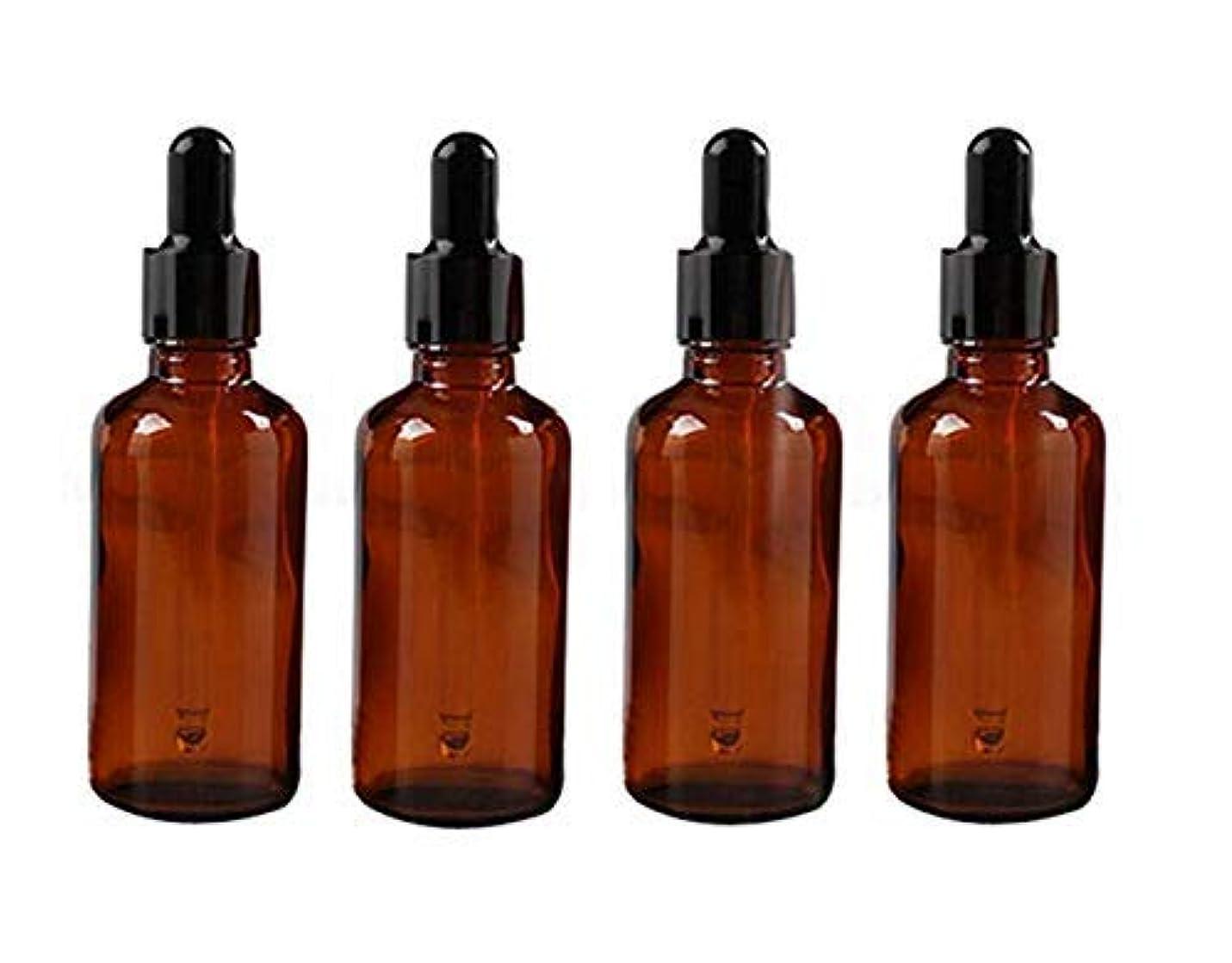 取り付け不信輸血4PCS 50ml 1.7oz Empty Refillable Amber Glass Essential Oil Bottle Vial Container with Glass Eye Dropper [並行輸入品]
