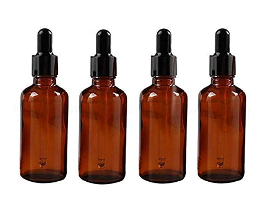 芽学部長紳士気取りの、きざな4PCS 50ml 1.7oz Empty Refillable Amber Glass Essential Oil Bottle Vial Container with Glass Eye Dropper [並行輸入品]