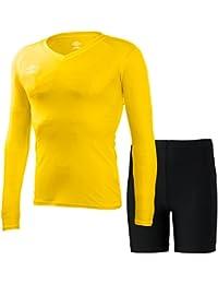 アンブロ(UMBRO) L/S パワーインナー Vネックシャツ&スパッツ 上下セット(イエロー/ブラック) UAS9701L-YEL-UAS9300P-BLK