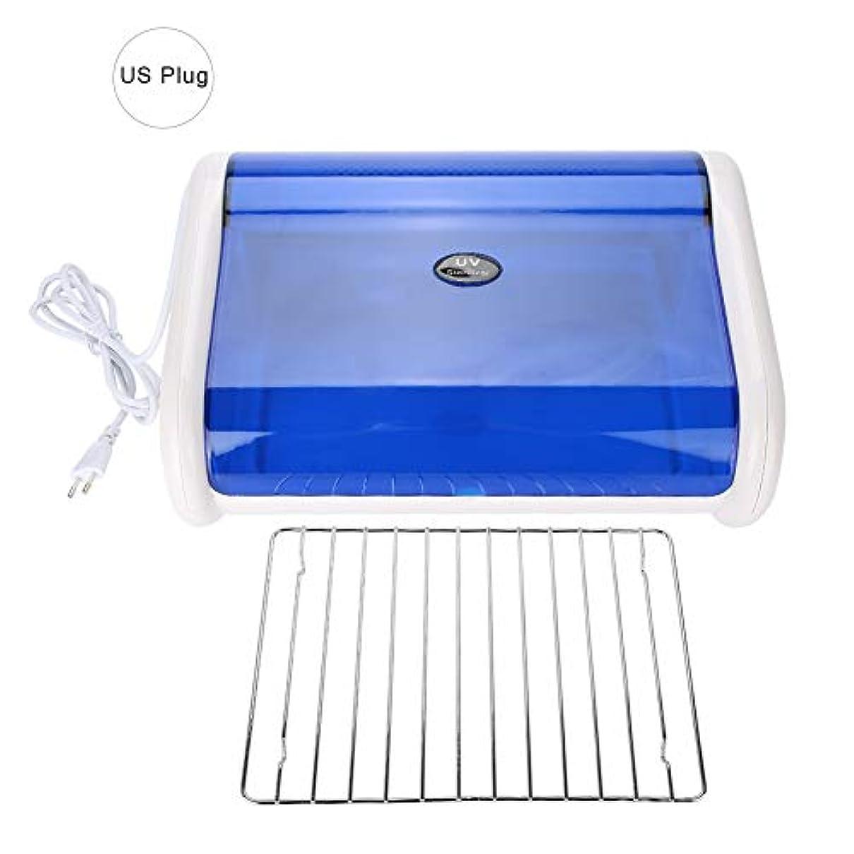 疲れたなだめる抵抗UV消毒器 Delaman208 ネイルマニキュアツール UV 消毒 除菌 抗菌 消毒器 消毒機 衛生機器 USプラグホワイト+ブルー(M)
