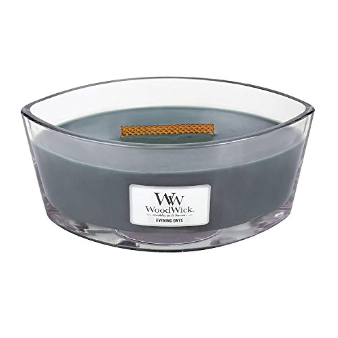 失望機転具体的にWoodWick EVENING ONYX, Highly Scented Candle, Ellipse Glass Jar with Original HearthWick Flame, Large 18cm, 470ml