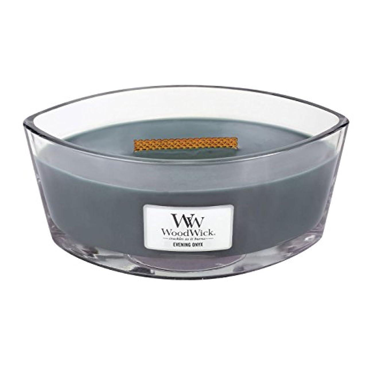 特殊ヘッジ興奮WoodWick EVENING ONYX, Highly Scented Candle, Ellipse Glass Jar with Original HearthWick Flame, Large 18cm, 470ml
