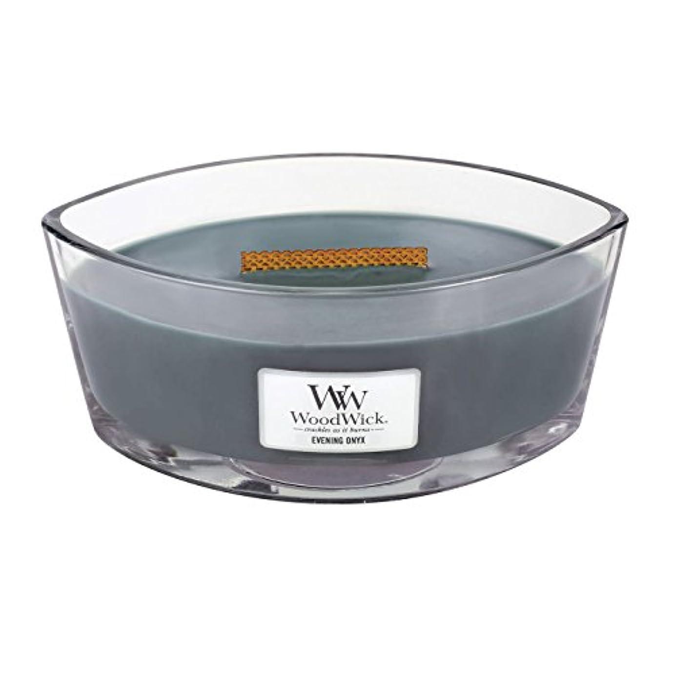 事従事するスポークスマンWoodWick EVENING ONYX, Highly Scented Candle, Ellipse Glass Jar with Original HearthWick Flame, Large 18cm, 470ml