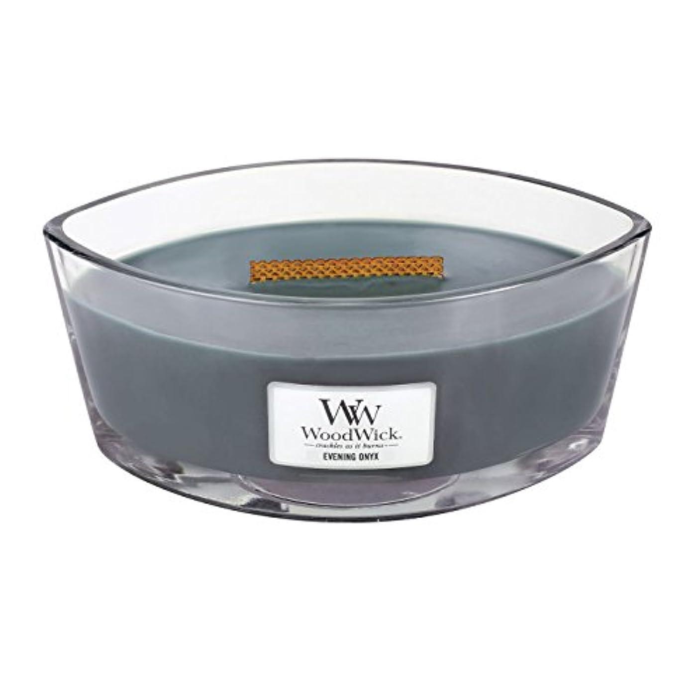 アンソロジーリムウェイターWoodWick EVENING ONYX, Highly Scented Candle, Ellipse Glass Jar with Original HearthWick Flame, Large 18cm, 470ml