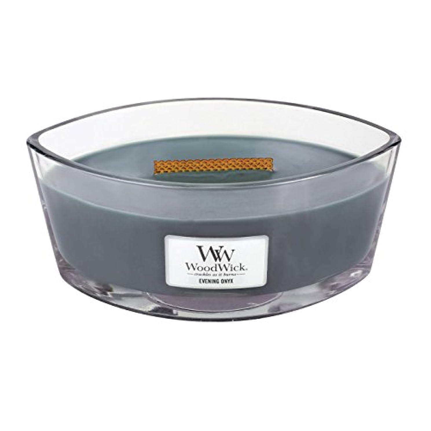 バケット切り刻む姿を消すWoodWick EVENING ONYX, Highly Scented Candle, Ellipse Glass Jar with Original HearthWick Flame, Large 18cm, 470ml