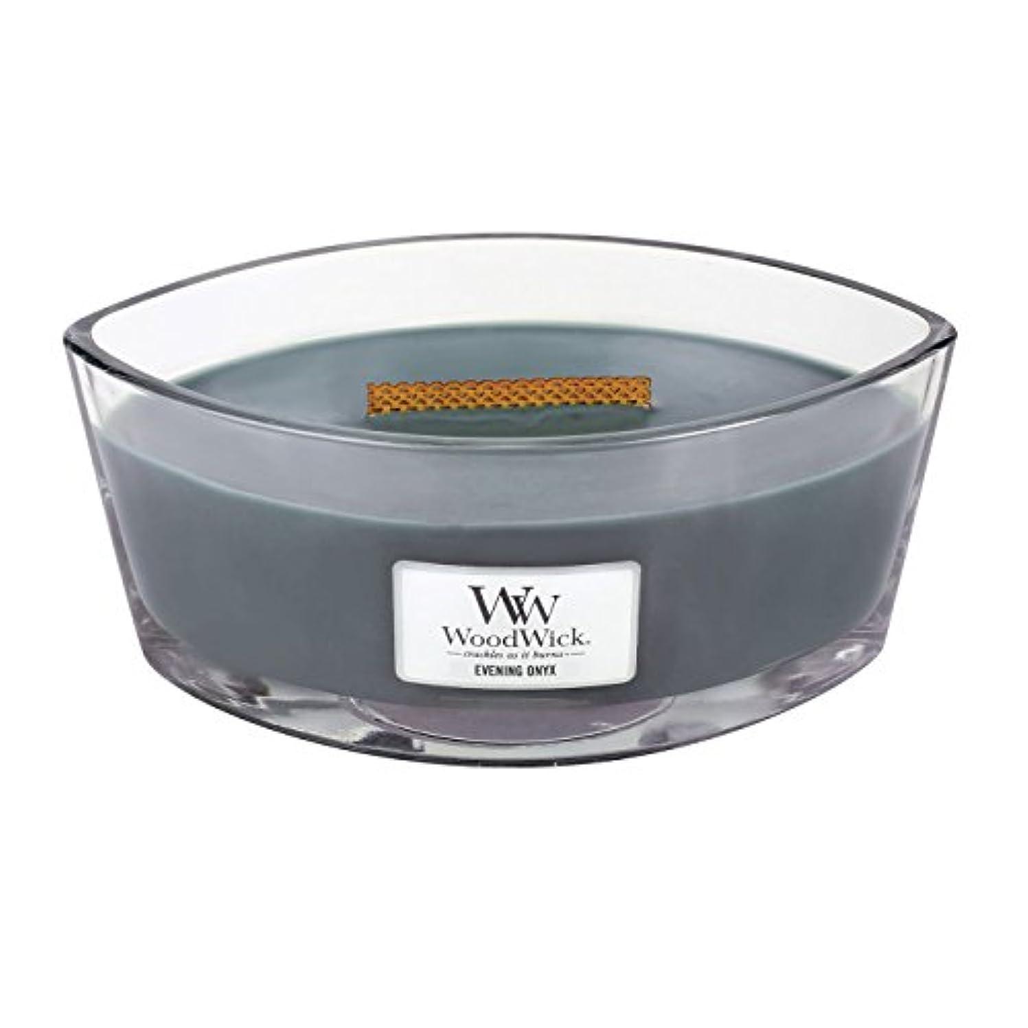 破壊メディカル再編成するWoodWick EVENING ONYX, Highly Scented Candle, Ellipse Glass Jar with Original HearthWick Flame, Large 18cm, 470ml