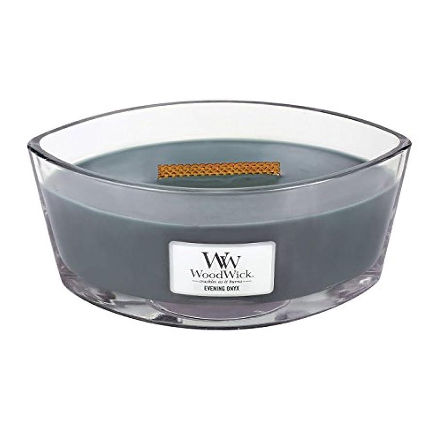 ルーチンモデレータ鎮静剤WoodWick EVENING ONYX, Highly Scented Candle, Ellipse Glass Jar with Original HearthWick Flame, Large 18cm, 470ml