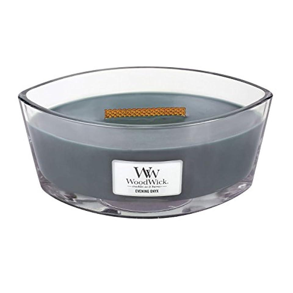 ファーザーファージュ挽く野生WoodWick EVENING ONYX, Highly Scented Candle, Ellipse Glass Jar with Original HearthWick Flame, Large 18cm, 470ml