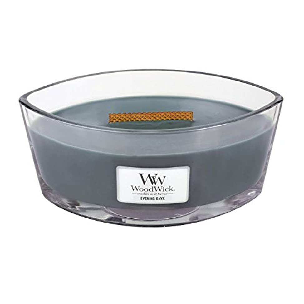 フラッシュのように素早く火傷パイプラインWoodWick EVENING ONYX, Highly Scented Candle, Ellipse Glass Jar with Original HearthWick Flame, Large 18cm, 470ml