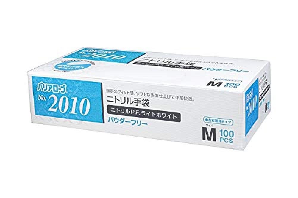 なしで神秘受付【ケース販売】 バリアローブ №2010 ニトリルP.F.ライト ホワイト (パウダーフリー) M 2000枚(100枚×20箱)