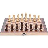 SoarUp 木製チェスセット 国際チェス チェスセット 木製 折りたたみ式 収納可能(29 x 29 cm)