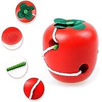 Eunomiaフルーツ形状インテリジェンスLacingゲームMontessoriパズルスレッド化Kid Wooden Toy Apple レッド 572HG644U9JTMH09TEVRL