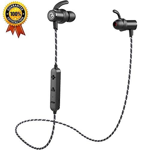 Gvoears Bluetoothワイヤレスイヤホン(アップグレードバージョン)|重低音|HIFI|スポーツランニング仕様|カナル型|メタル|ナイロンケーブル… (ブラック)