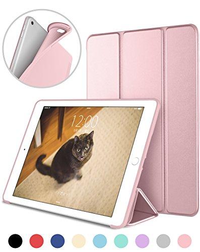 DTTO iPad Mini4 ケース 生涯保証 TPU ソフト 超薄型 超軽量 PUレザー スマートカバー 三つ折り スタンド スマートキーボード対応 キズ防止 指紋防止 [オート スリープ/スリープ解除] ローズゴールド