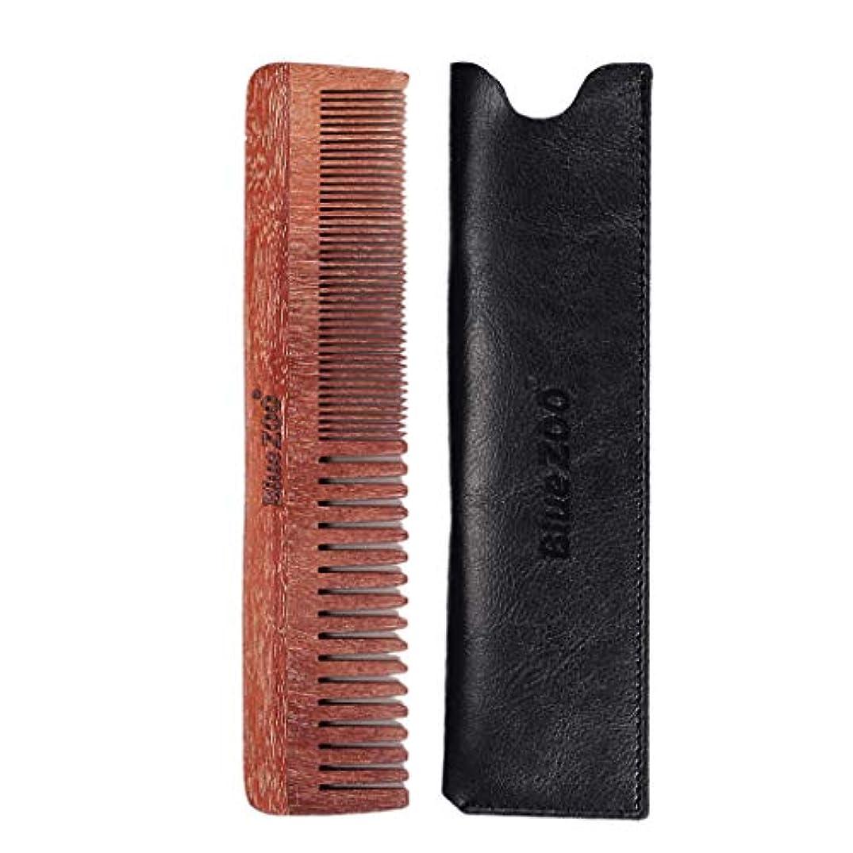 情報理容師寝室を掃除するウッドコーム 口ひげ櫛 ダブルサイド メンズ プレゼント 2色選べ - ブラック