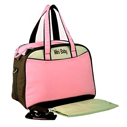 RONGTONGDA 斜めがけ マザーズバッグ 2way ママバッグ 大容量 多機能 ショルダーバッグハン シンプル 軽量 ベビーカー用 収納バッグ  (ピンク)