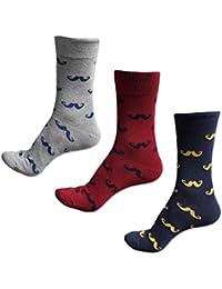 XIKA メンズ クルーソックス 靴下 カジュアル ヨーロッパ風 ヒゲ柄 おしゃれ 24.5-27cm 3足セット