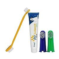 Fartido 1xダブルヘッド歯ブラシを含むペット歯科用キット 2x指用歯ブラシ 1xペット用の歯磨き粉75g 犬用歯石と歯垢を減らすのに役立ちます