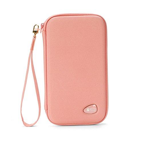 Surblue パスポートケース パスポート収納 パスポートバッグ ピンク カードケース 通帳 カード入れ スマホ...