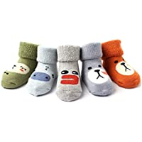 Baby Socks Winter Thick Warm Wool Socks for Toddler Girls Boys Fuzzy Cute Socks 5 Pairs