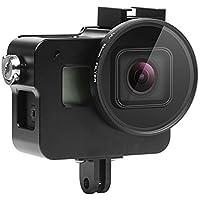 SHOOT GoPro Hero6 Balck用バックドア付ハウジング 52mmUVフィルター レンズキャップ付きアルミ合金保護フレーム 耐衝撃スケルトン(黒)