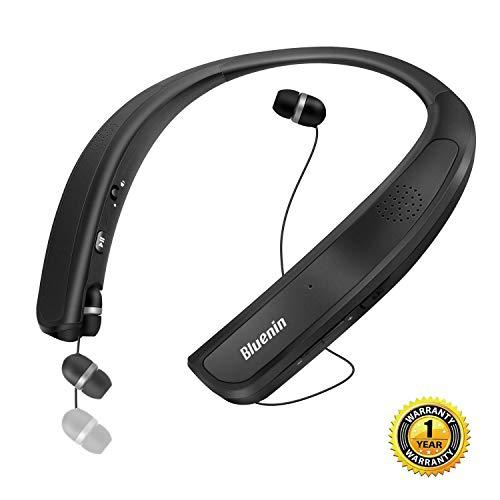 ウェアラブルネックスピーカー Bluetoothイヤホン「10時間連続再生/内蔵マイク Bluetooth4.1搭載/防水」オーディオ用/電話/スポーツ/音楽/テレビ劇場に適用 3Dサウンド ハンズフリー ねっくすぴーかー (ブラック)