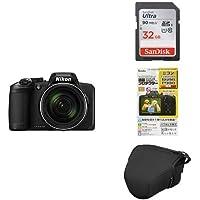 Nikon デジタルカメラ COOLPIX B600 光学60倍 軽量 クールピクス ブラック + アクセサリー3点セット(SDカード 32GB、液晶保護フィルム、一眼カメラケース)