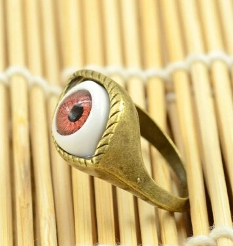 問題修士号起点Jicorzo - ヨーロッパと米国のゴシックパンク風のレトロな青と茶色の鬼の目のリング宝石の1pcsを誇張[ブラウン]