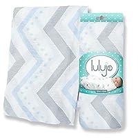 Lulujo Baby Bamboo Muslin Swaddling Blanket Blue Chevron by lulujo