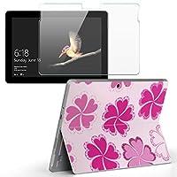 Surface go 専用スキンシール ガラスフィルム セット サーフェス go カバー ケース フィルム ステッカー アクセサリー 保護 フラワー 花 ピンク フラワー 004025