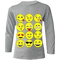Aelstores Girls Emoji Tops and Leggings Emoticons Happy Faces Black Long Sleeve Grey Top Set Kids T-Shirt Jumper Sweatshirt New Age 7 8 9 10 11 12 13 14 Years