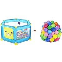 BSNOWF-ベビーサークル 赤ちゃんの再生庭100ボール、ポータブル屋内野外幼児のプレイペン、安全アンチロールオーバー (色 : 青)