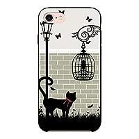 (カリーナ) Carine AQUOS R compact SHV41 薄型 ブラック スマホケース スマホカバー sc121(D) 猫 cat キャット ストリート アクオス スマートフォン スマートホン 携帯 ケース R コンパクト ハード プラ スマフォ カバー
