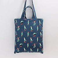Student Tote Bag, Canvas Skateboard People Shoulder Bag Simple Light File Books Shopping Handbag (Navy) Polykor