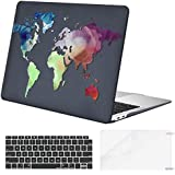 MOSISO Plastic Pattern Hard Case Shell & Keyboard Cover & Screen Protector Only Compatible Newest MacBook Air 13 inch with Retina Display Multicolored World Map Black Base